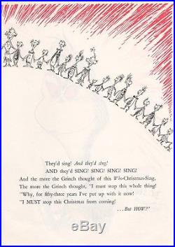 8 x 11 Printed Sketch of Grinch Signed by Dr. Seuss with COA