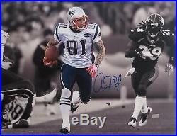 Aaron Hernandez New England Patriots Autographed Photo 20x24 Frame with COA