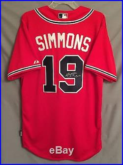 Andrelton Simmons SIGNED Atlanta Braves Authentic Jersey AUTO COA with Simba