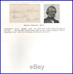 Andrew Johnson Cut Signature 3 x 2 with COA