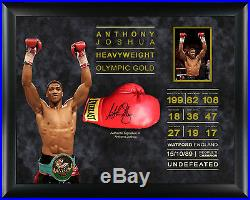 Anthony Joshua FRAMED GENUINE HAND SIGNED Boxing Glove WIth Proof AFTAL COA (A)