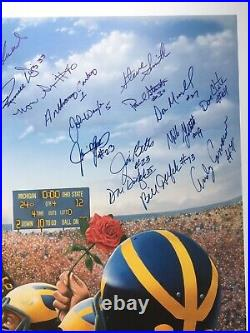 Bo Schembechler Autographed Lithograph Also with 25 player sigs COA Michigan