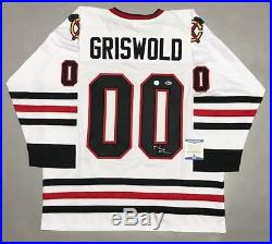CHEVY CHASE GRISWOLD AUTOGRAPHED BLACKHAWKS JERSEY with BECKETT COA #I49131