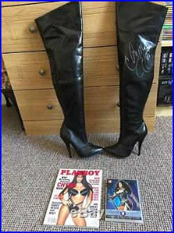 CHYNA SIGNED BOOTS WITH COA, With Playboy Magazine And DVD, WWF, WWE, WCW, ECW, TNA