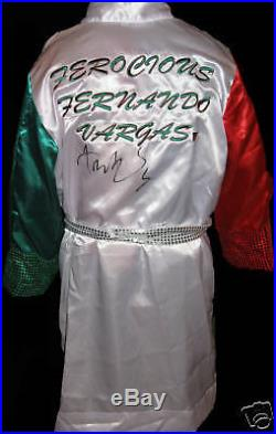 Fernando Vargas Signed Boxing Robe With Exact Proof Coa