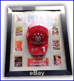 Framed Ferrari F1 Cap Signed By Michael Schumacher With Coa
