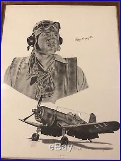 Greg Pappy Boyington and Michael Wooten signed print with COA