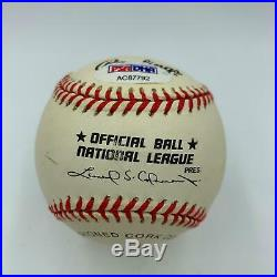 Hank Aaron Signed Autographed Official National League Baseball With PSA DNA COA