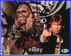 Harrison Ford Autographed 8 x 10 Star Wars with Chewbacca Photograph BAS COA