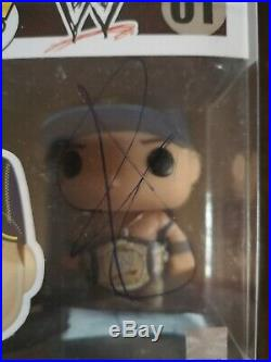 John Cena & Belt signed Funko POP Vinyl WWE with COA and in a pop protector