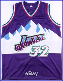 KARL MALONE AUTOGRAPHED JAZZ STAT JERSEY with BECKETT COA #J27013