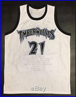 KEVIN GARNETT AUTOGRAPHED TIMBERWOLVES STAT JERSEY with PSA ITP COA #8A31033