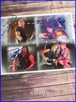 Metallica Signed 8.5x11 Autograph By All 4 Members Hot Rock Heavy-Metal With Coa