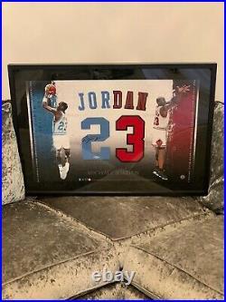 Michael Jordan Autographed North Carolina/Bulls Duel Jersey Piece. UDA, With COA