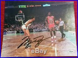 Michael Jordan Chicago Bulls Autographed picture with COA 63 pt playoff celtics