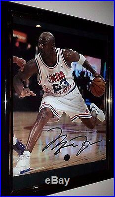 Michael Jordan Hand Signed 8x10 With Uacc Coa Framed Autographed All Stars Pic