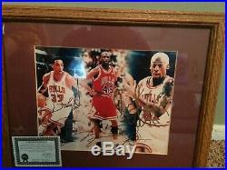 Michael Jordan, Scottie Pippen and Dennis Rodman Autograph Picture with COA
