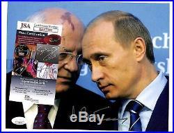 Mikhail Gorbachev with Vladimir Putin signed autograph 8x10 photo JSA COA