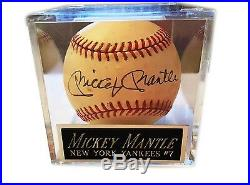 Mlb Mickey Mantle New York Hand Signed Autographed Baseball With Coa & Case
