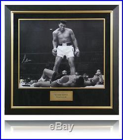Muhammad Ali vs Sonny Liston framed photo Signed By Muhammad Ali with AFTAL COA