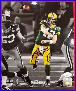 PACKERS Aaron Rodgers Signed SB XLV Spotlight 8x10 Photo Autograph with JSA COA