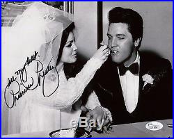 PRISCILLA PRESLEY HAND SIGNED 8x10 PHOTO WEDDING DAY WITH ELVIS COA JSA