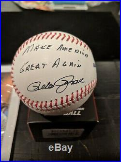 Pete Rose Make America Great Again Autograph Baseball -coa Loaded With Extras