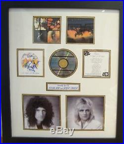 Queen Brian May & Roger Taylor Hand Signed Album & Picture Display with COA