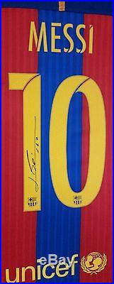 Rare LIONEL MESSI of Barcelona Signed Shirt Autograph Display with COA