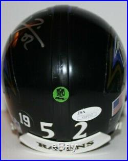 Ray Lewis Custom Signed Autographed Mini Helmet With Visor Ravens JSA COA