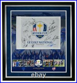 Ryder Cup Team Signed & Framed 2018 Paris PIN FLAG Signed BY 13 AFTAL With COA