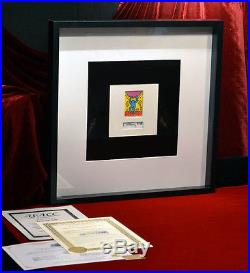 Signed KEITH HARING Autograph with Dancing Man Art FDC, Plaque Frame, UACC COA