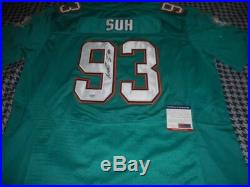 Signed Ndamukong Suh Miami Dolphins NFL Football Jersey Autographed with COA