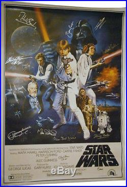 Star Wars Movie One Sheet Ltd Ed Hand Signed Auto Autograph Cast Poster With COA