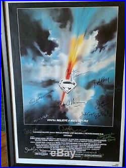 Superman (1978) Movie Poster Framed & Hand Signed by 16 Cast/Crew with COA