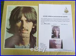 The Beatles George Harrison USA White Album Portrait Signed Autograph with COA