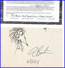 Tim Burton Original Artwork Vincent signed Autograph With COA Rare Find