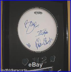 U2-Autographed 23 x 38 Drumhead & Photograph Framed Display with COA-BONO
