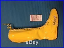 WWF/WCWithWWE Hulk Hogan autographed yellow wrestling boot. JSA certified with COA