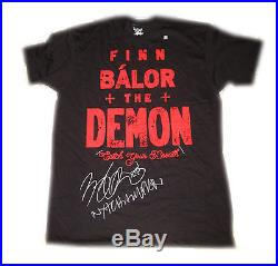 Wwe Nxt Finn Balor Hand Signed The Demon T-shirt With Picture Proof And Coa