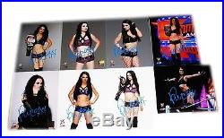 Wwe Paige Hand Signed Autographed Lot Of 8 Photo File Photos With Coa