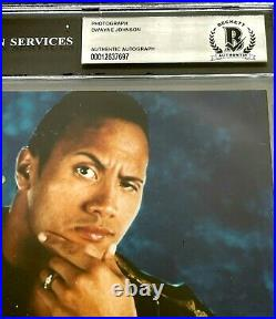 Wwe The Rock Hand Signed Autographed 8x10 Photo With Beckett Encapsulated Coa