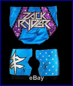 Wwe Zack Ryder Ring Worn Hand Signed Trunks And Kneepads With Picture Proof Coa