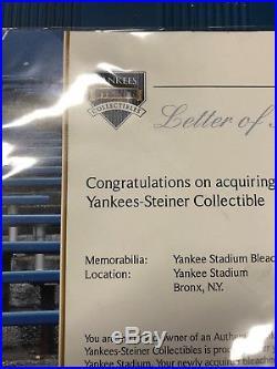 Yankee Stadium Authentic Bleacher Seat With Coa From Steiner