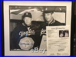 Yankees Mickey mantle & don Larsen duel Signed Framed 16x20 With Full Coa