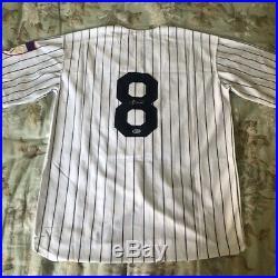 Yogi Berra Autographed New York Yankees Baseball Jersey with COA BAS Beckett